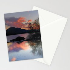Trees in the water at the red sunset Stationery Cards