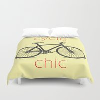 cycle Duvet Covers featuring Cycle Chic by Louise Machado