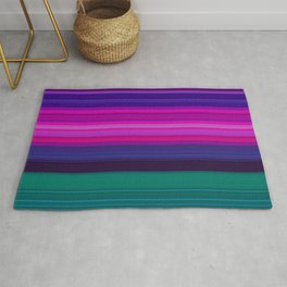 Vibrant Purple Pink and Green Stripes Rug