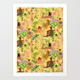 Nudes & Flowers Pattern Art Print
