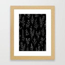 New Black Wildflowers Framed Art Print