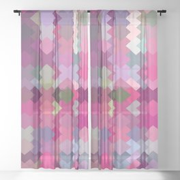 geometric square pixel pattern abstract in pink and purple Sheer Curtain