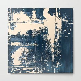 Grunge Paint Flaking Paint Dried Paint Peeling Paint Blue Beige Navy Metal Print