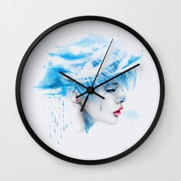 Head Up In The Clouds (blue ver.) Wall Clock
