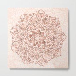Mandala Seashell Rose Gold Coral Pink Metal Print