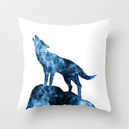 Howling Wolf blue sparkly smoke silhouette Throw Pillow