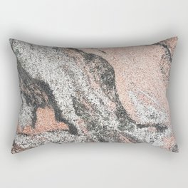 Pastel coral gray white abstract vintage marble Rectangular Pillow