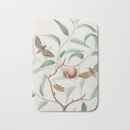 Vintage Botanical Print - Peach and Moths Bath Mat