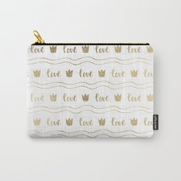 Modern faux gold crown waves stripes love typography Carry-All Pouch