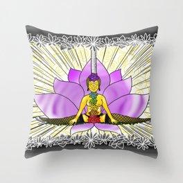 Chakras With Lotus Throw Pillow