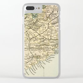 Vintage and Retro Map of Southern Ireland Clear iPhone Case