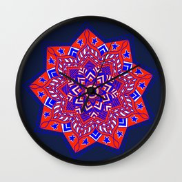 Red White and Blue Mandala star swirl Wall Clock
