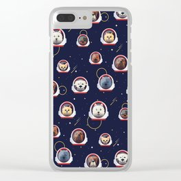 Dog Dogs Outer Space Pet Pets Pattern Clear iPhone Case
