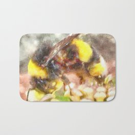 Busy Busy Busy Watercolor Bath Mat