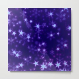Blurry Stars blue Metal Print