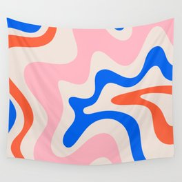 Retro Liquid Swirl Abstract Pattern Square Pink, Orange, and Royal Blue Wall Tapestry