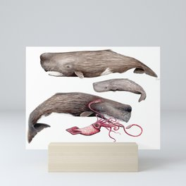Sperm whale family Mini Art Print