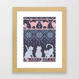Fair Isle Knitting Cats Love // purple white and pink kitties Framed Art Print