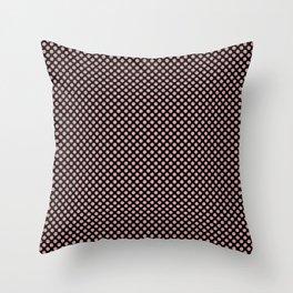 Black and Bridal Rose Polka Dots Throw Pillow