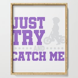 Bicyclist Just Try And Catch Me! Bike Rider Serving Tray