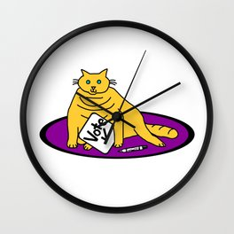 Chonky Cat says Vote Wall Clock