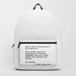 The beauty of all literature - F Scott Fitzgerald Backpack