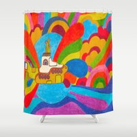 yellow submarine Shower Curtains featuring Yellow Submarine by Jaime Viens