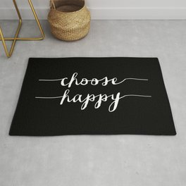 Choose Happy black and white typography poster black-white design bedroom wall art home decor Rug
