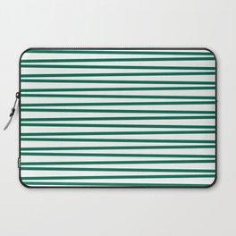 Teal green and white thin horizontal stripes Laptop Sleeve