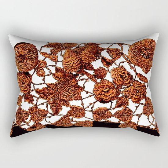 copper embroidery on black and white Rectangular Pillow