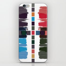 Bold brushstrokes with mosaic stripes iPhone Skin
