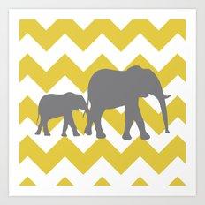 Chevron Elephants (yellow and grey) Art Print