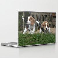 puppies Laptop & iPad Skins featuring Beagle puppies by Martina Berg