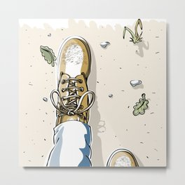 Selfie with Mens Hiking Boots Metal Print