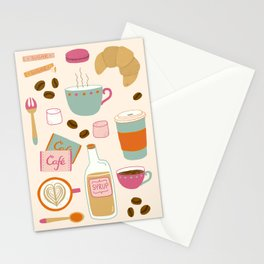 Drawing Coffee in a Café Stationery Cards