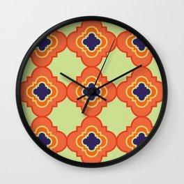 Quatrefoil - orange and blue Wall Clock