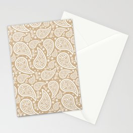 Paisley (White & Tan Pattern) Stationery Cards