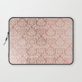 Vintage white faux rose gold elegant floral damask Laptop Sleeve