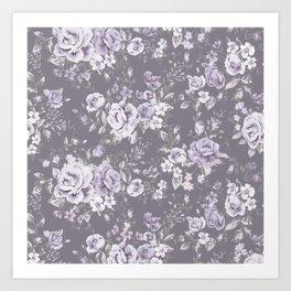 VINTAGE FLORAL MAUVE ROSES PATTERN DARK Art Print