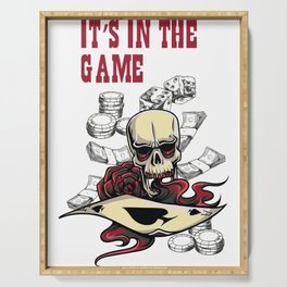 Gambling Skull Its In The Game Serving Tray