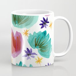 Teal and Pink Watercolor Pattern Coffee Mug