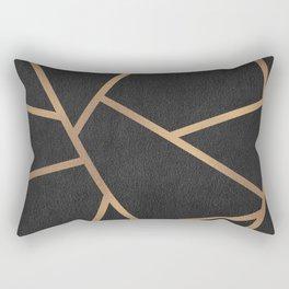 Dark Grey and Gold Textured Fragments - Geometric Design Rectangular Pillow