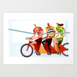 Bicycle Tour de France Tandem for Three Art Print