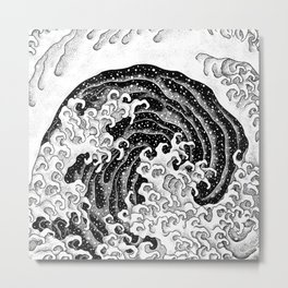 HATCH vs Hokusai: Waves (Feminine) Metal Print