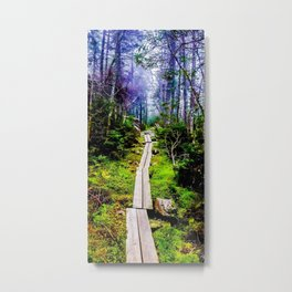 Misty Mountain Path Metal Print