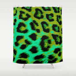 Aqua and Apple Green Leopard Spots Shower Curtain