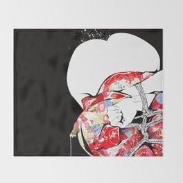 Woman wears a traditional kimono, Body tied by rope, Shibari, Japanese BDSM art, Fashion illusration Throw Blanket