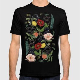 Botanical and Black Pugs T-shirt