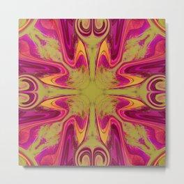 Groovy, Retro Pink and Green Swirls Design Metal Print