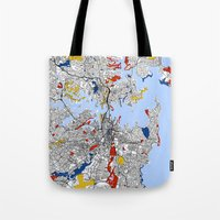 sydney Tote Bags featuring Sydney by Mondrian Maps